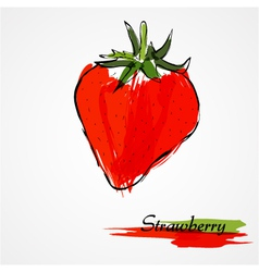 red strawberry fruit vector image