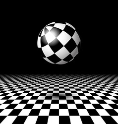 Room with checkered floor and ball vector