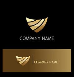 Shield abstract technology gold logo vector
