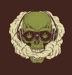 skull smoking a marijuana vector image