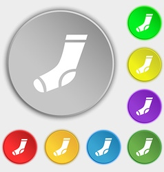 Socks icon sign symbol on eight flat buttons vector