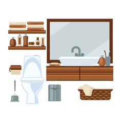 toilet and sink in bathroom vector image
