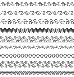 wave line pattern borders set vector image