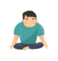 Young man doing yoga in lotus position peaceful vector