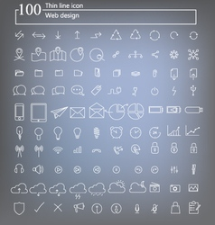 100 web icon thin line design vector image