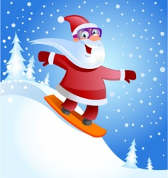 Santa on snowboard vector
