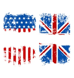 Grunge banners USA and UK national flags vector image