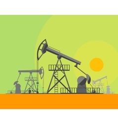 Cartoon oil derrick at sunset background vector