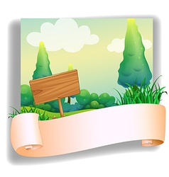 An empty template in front of a wooden signboard vector