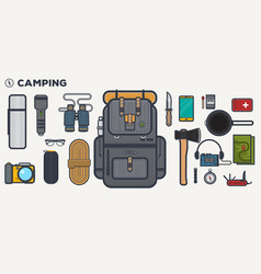 Travel backpack line vector