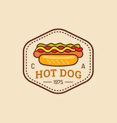 Vintage fast food logo retro hand drawn vector