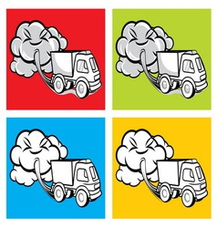 Truck exhaust fumes vector