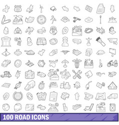 100 road icons set outline style vector