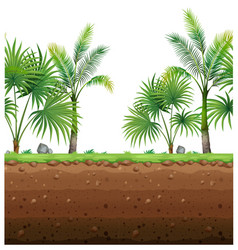 Seamless background with palm trees and vector