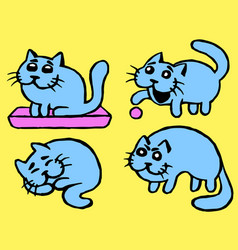 Cute blue cats emoticons set isolated vector