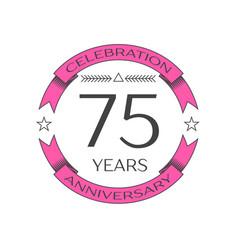 Seventy five years anniversary celebration logo vector