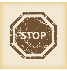 Grungy stop icon vector