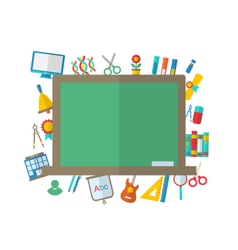 Flat Icons of Blackboard and other Elements vector image