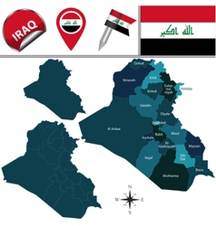 Iraq map with named divisions vector image
