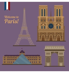 Paris travel set famous places - eiffel tower vector