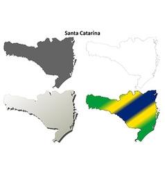 Santa catarina blank outline map set vector