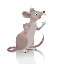 Gray-brown mouse waves her hand you vector