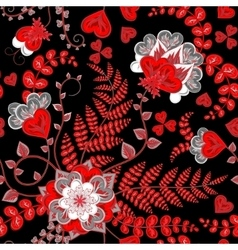 Elegant seamless pattern with red fantasy flowers vector