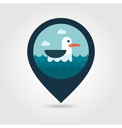 Seagull pin map icon summer vacation vector