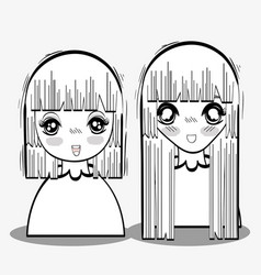 Anime tender shy women vector