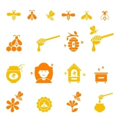Bee and honey icon set organic natural vector