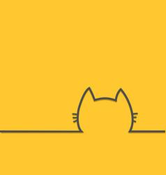 black cat head face contour silhouette line icon vector image vector image