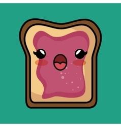 Bread jam kawaii toast design vector
