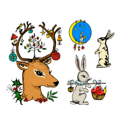 christmas deer and animal with flowers in the vector image