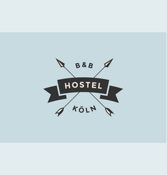 emblem of hostel with arrows vector image