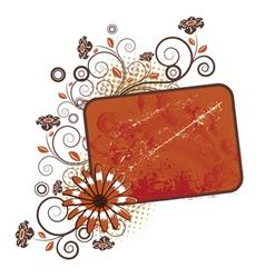 flower with grunge vintage frame vector image vector image