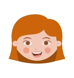 Front face cute girl with hair short vector