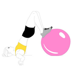 girl is doing sports exercises vector image