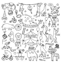 Hand drawn circus set vector image vector image