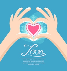 Hand love heart sign vector