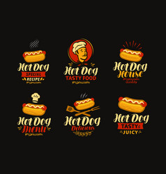 hot dog logo or label fast food set of icons vector image vector image