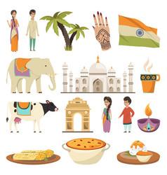 India orthogonal isolated icons set vector