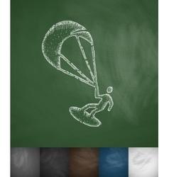Kitesurfing icon vector