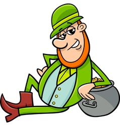 leprechaun with pot of gold cartoon vector image vector image