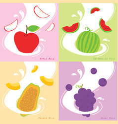 milk flavor apple papaya watermelon grape vector image vector image