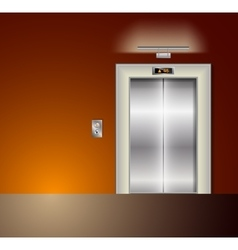 Open and Closed Modern Metal Elevator Doors Hall vector image
