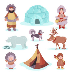people in traditional eskimos costume and arctic vector image vector image