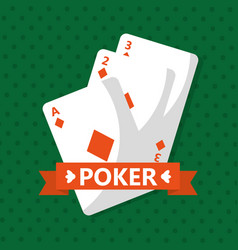 poker cards casino game banner ribbon vector image