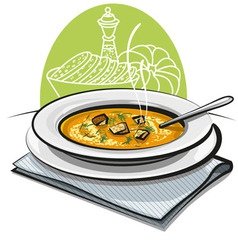 pumpkin soup with croutons vector image