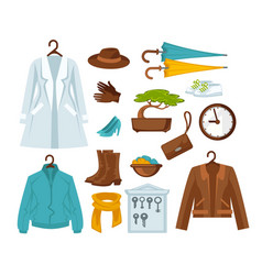 Set of stylish female clothes vector