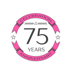 Seventy five years anniversary celebration logo vector